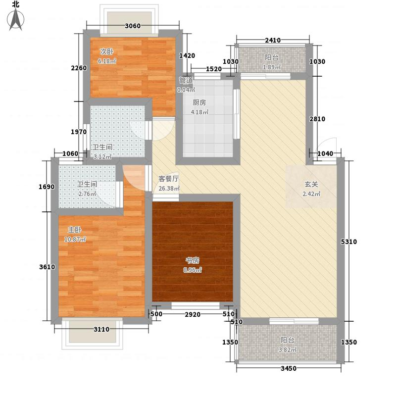 钱桥花园路小区102.00㎡3室户型3室2厅1卫1厨