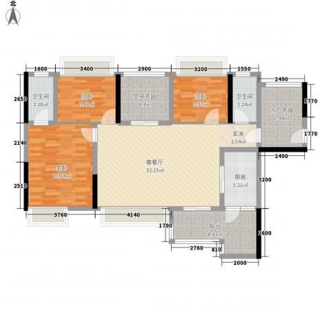 神州华府二期3室1厅2卫1厨139.00㎡户型图