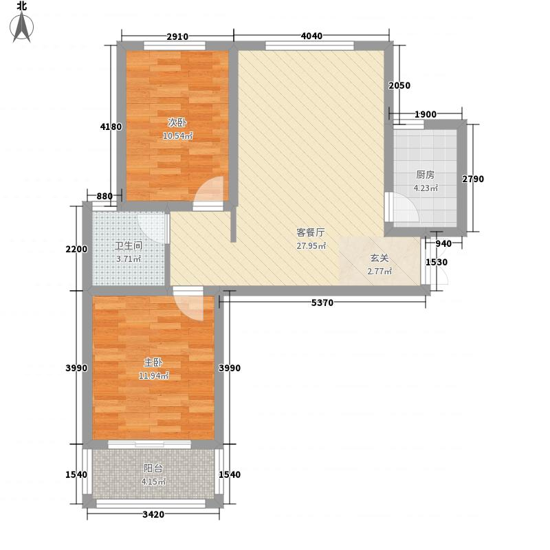 国泰一品庄园8.84㎡一期A1户型2室2厅1卫1厨
