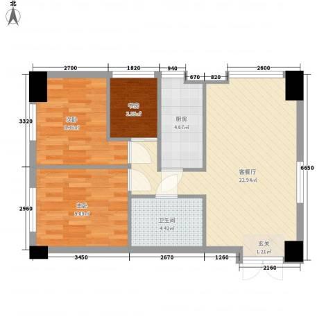 金融街・漫香林第6区3室1厅1卫1厨88.00㎡户型图