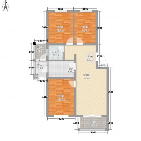 正通花园3室1厅1卫2厨110.00㎡户型图