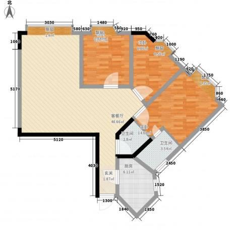 富悦大厦3室1厅2卫1厨123.00㎡户型图