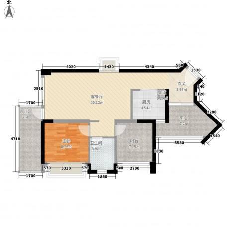 凯旋国际1室1厅1卫1厨99.00㎡户型图