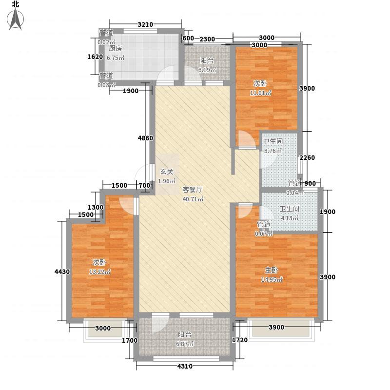 济南高新万达广场3室1厅2卫1厨149.00㎡户型图
