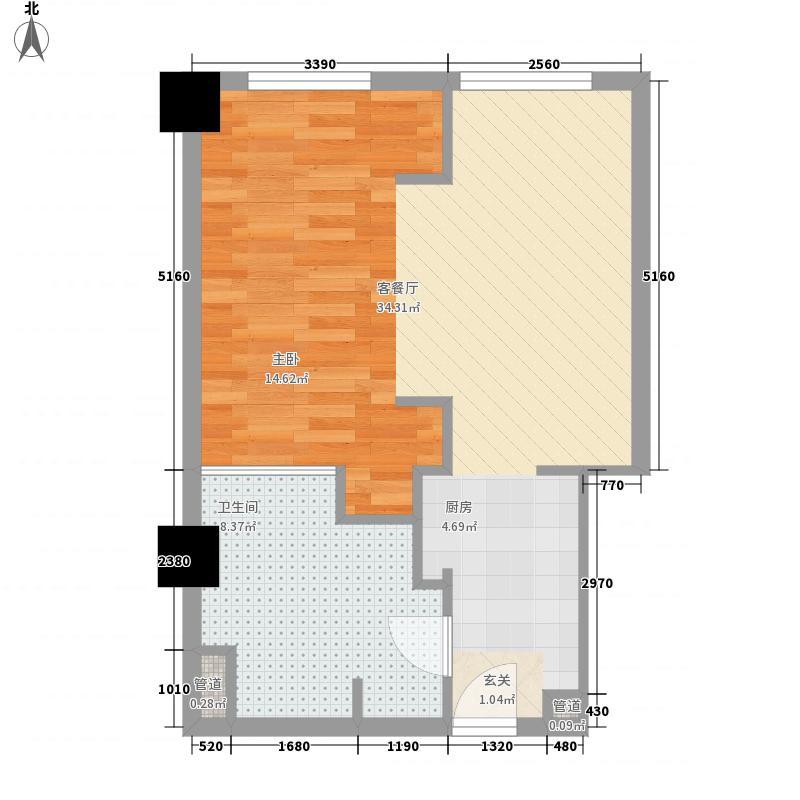 亚奥观典国际公寓78.70㎡C5户型1室1厅1卫1厨