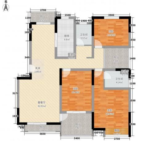国信金邸世家3室1厅2卫1厨137.00㎡户型图