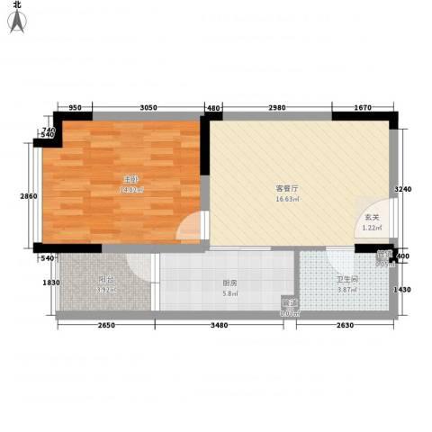 华宸金岸世家1室1厅1卫1厨64.00㎡户型图