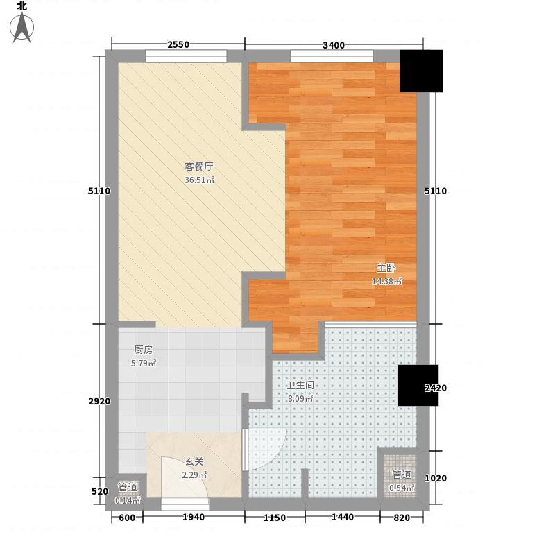 亚奥观典国际公寓82.55㎡C4户型1室1厅1卫1厨