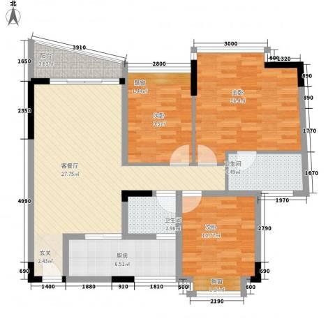 旗峰花园3室1厅2卫1厨158.00㎡户型图