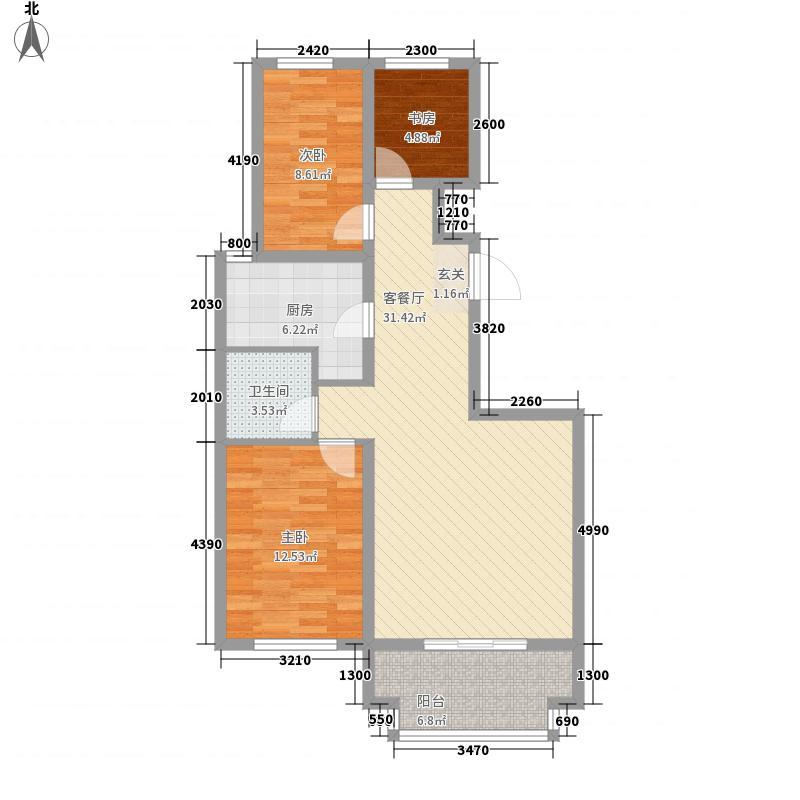 英伦海岸17.30㎡27#28#楼标准层C3户型3室2厅1卫1厨