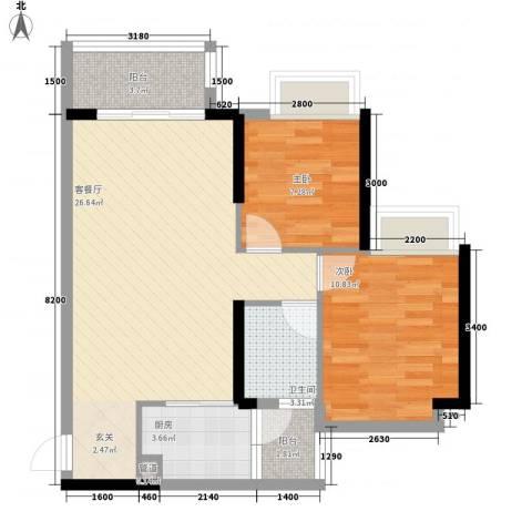 派2室1厅1卫1厨78.00㎡户型图