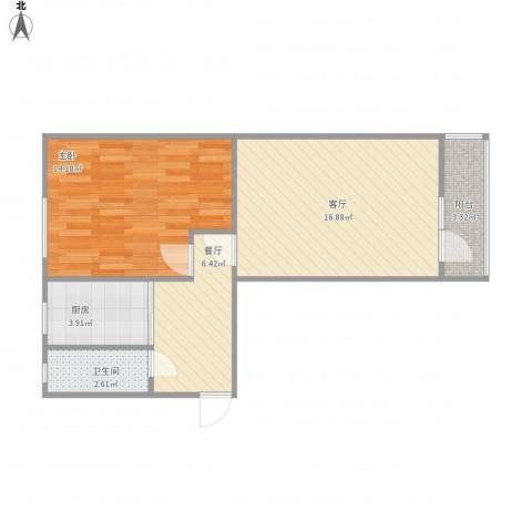 葛村西里1室2厅1卫1厨64.00㎡户型图