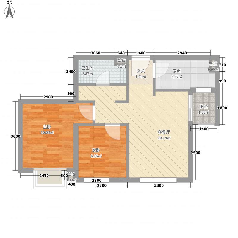 沈铁・达观76.00㎡高层A2户型2室2厅1卫