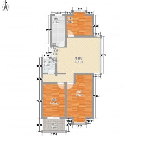 福润康城3室1厅1卫1厨108.00㎡户型图