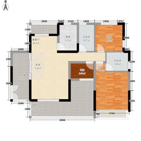 中港城3室1厅2卫1厨140.00㎡户型图