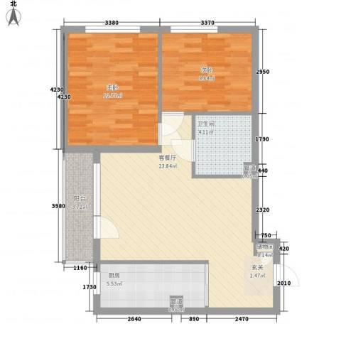 惠馨大厦2室1厅1卫1厨84.00㎡户型图