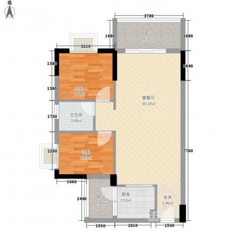 顺丰翠园2室1厅1卫1厨85.00㎡户型图