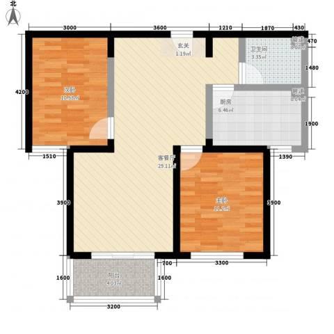 假日花城2室1厅1卫1厨65.19㎡户型图