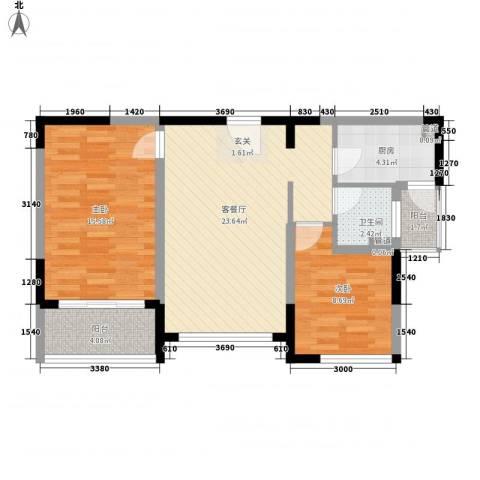 华宸金岸世家2室1厅1卫1厨88.00㎡户型图