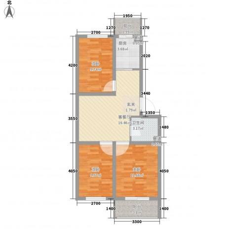 华亨名城3室1厅1卫1厨81.00㎡户型图