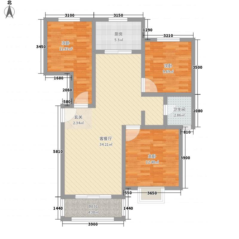 汇龙国际花园116.41㎡A户型3室2厅1卫