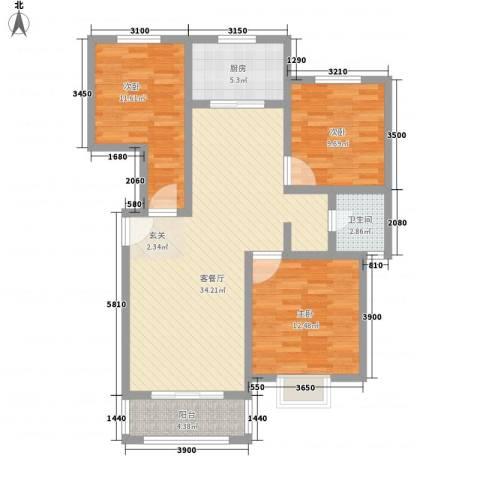 汇龙国际花园3室1厅1卫1厨116.00㎡户型图