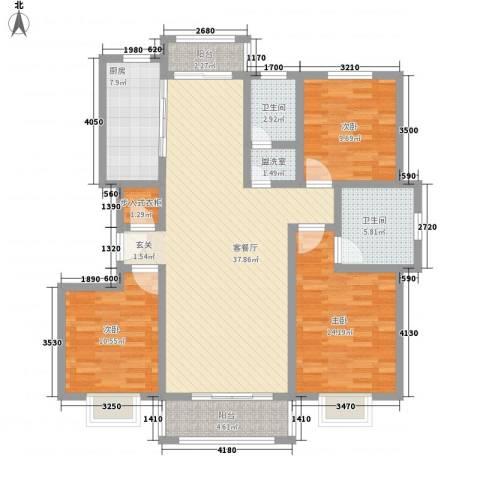 汇龙国际花园3室1厅2卫1厨142.00㎡户型图