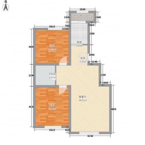 盛阳华苑2室1厅1卫1厨64.39㎡户型图