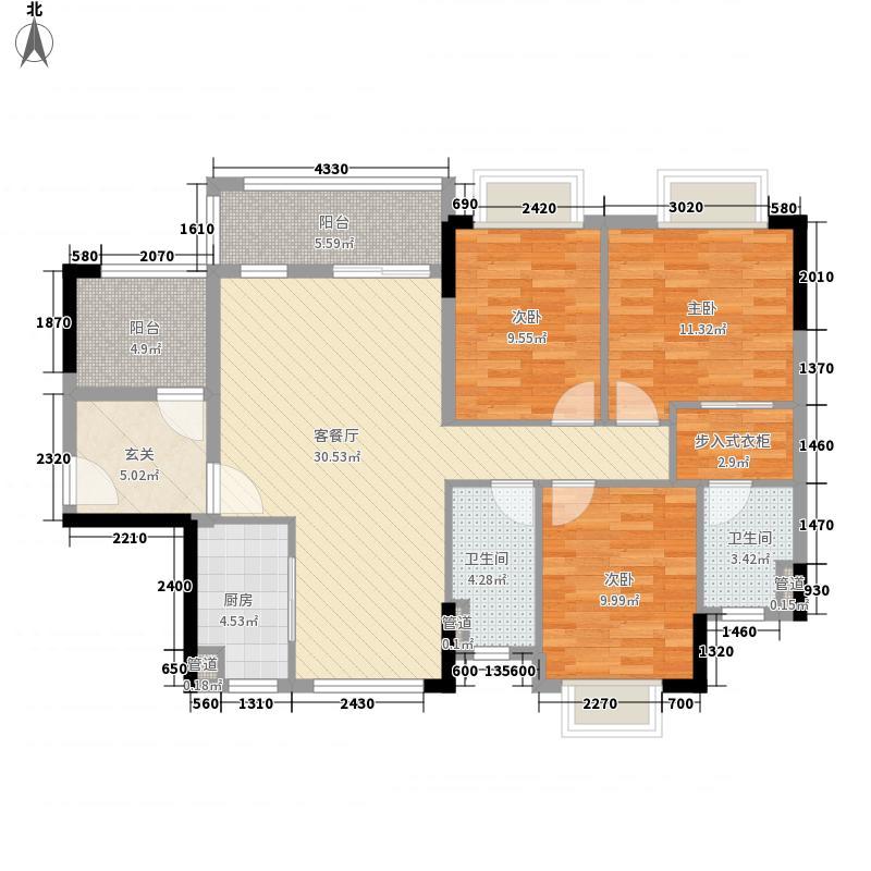 锦龙湾畔花园121.00㎡F户型4室2厅2卫1厨