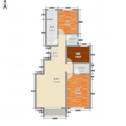 晨曦家园3室1厅2卫1厨120.00㎡户型图