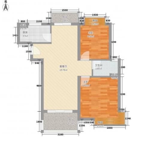 万泉经典2室1厅1卫1厨80.00㎡户型图