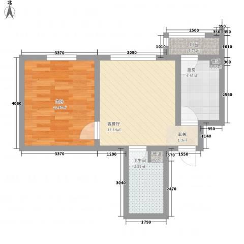 山水宜居1室1厅1卫1厨52.00㎡户型图