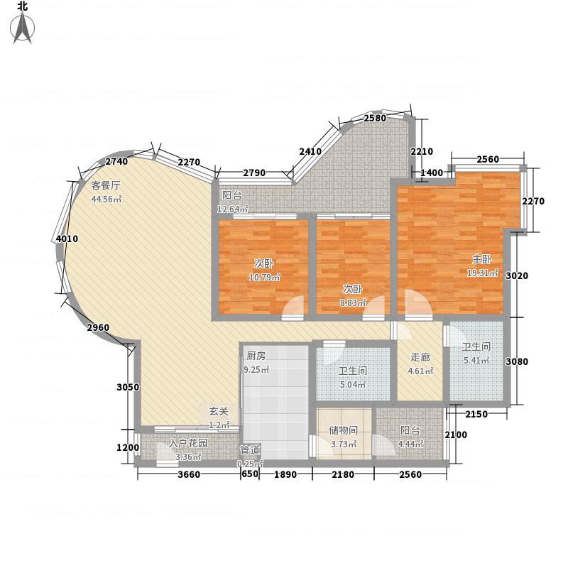 海棠晓月蓝滨城152.00㎡户型3室