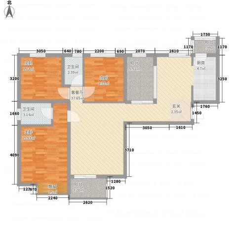 中海观园3室1厅2卫0厨123.00㎡户型图