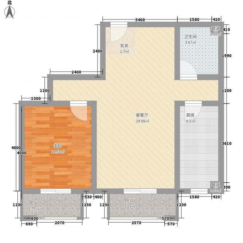 蓝山世家78.10㎡7号楼E反户型1室1厅1卫1厨