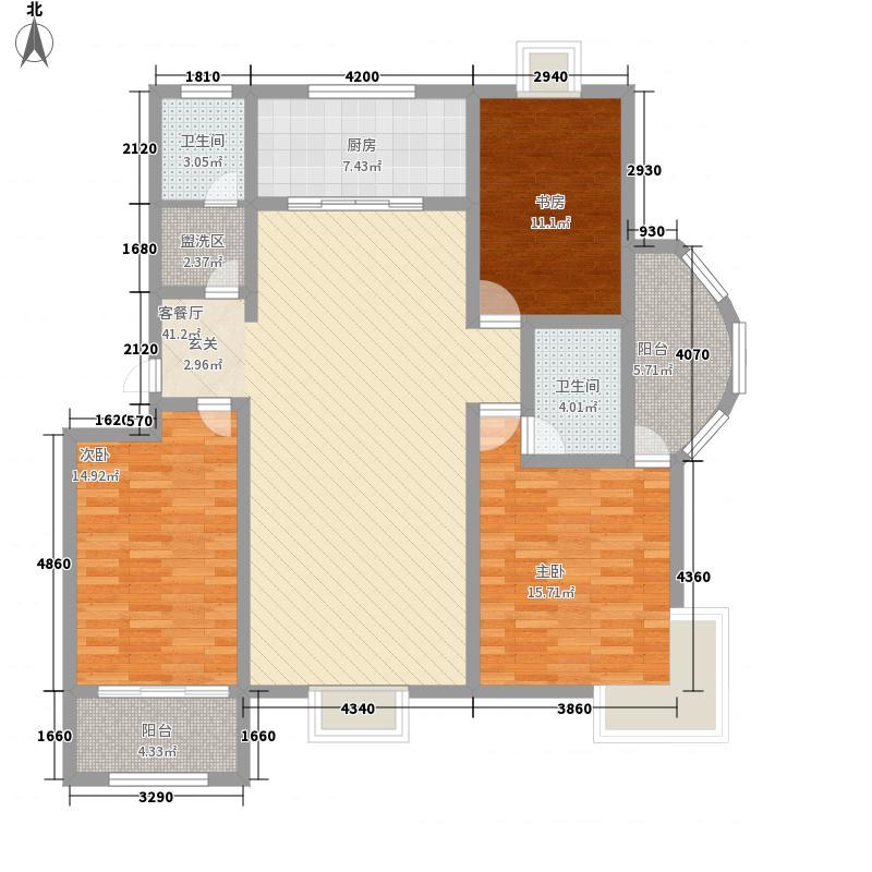 永盛领秀城157.00㎡户型3室2厅2卫1厨