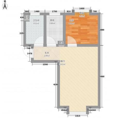 东岸酷博1室1厅1卫1厨57.00㎡户型图