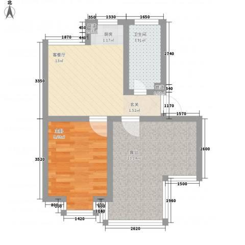 东岸酷博1室1厅1卫0厨61.00㎡户型图