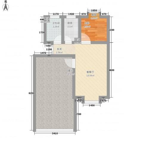 东岸酷博1室1厅1卫1厨62.00㎡户型图