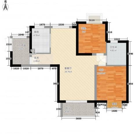 世纪城龙祥苑2室1厅1卫1厨70.73㎡户型图