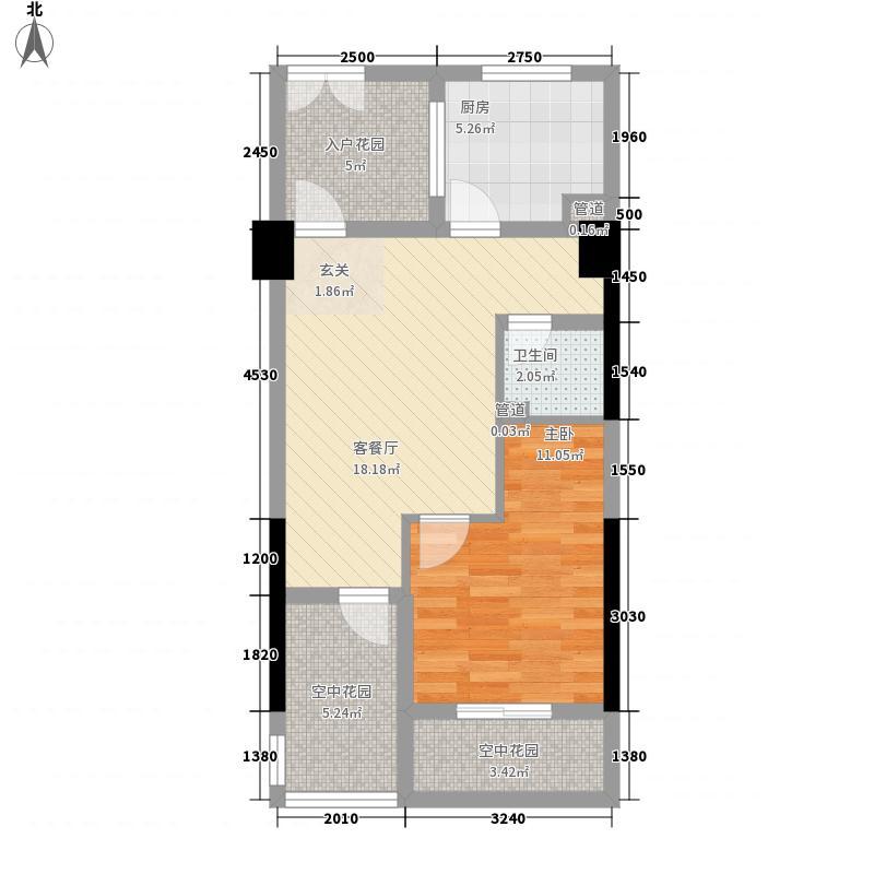 凤栖桐61.94㎡A6-3/4型户型1室1厅1卫1厨