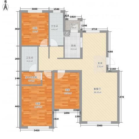 咱家3室1厅2卫1厨126.00㎡户型图