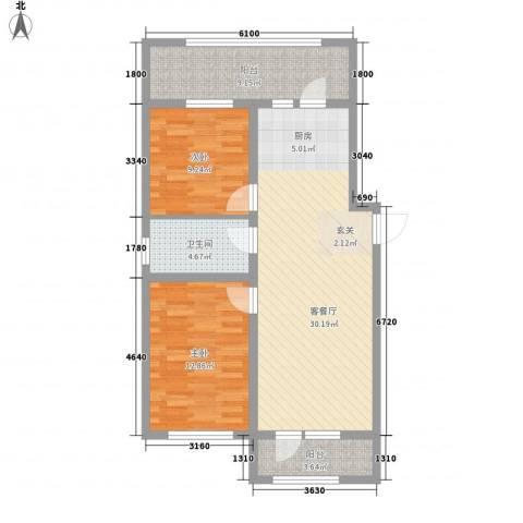 光伸卧龙港湾2室1厅1卫0厨100.00㎡户型图