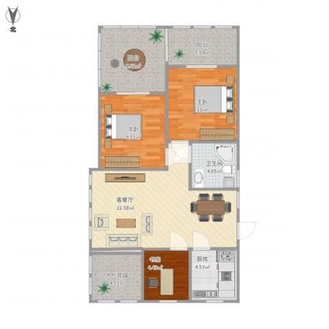 金茂四季花园3室1厅1卫1厨88.00㎡户型图
