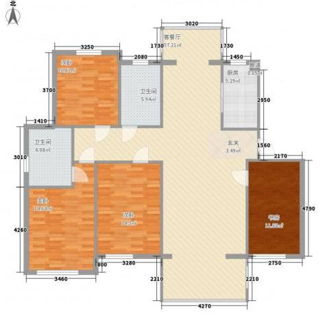 新洲城市花园4室1厅2卫1厨126.20㎡户型图