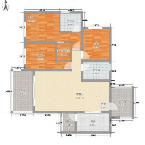 自在山居3室1厅2卫1厨128.00㎡户型图