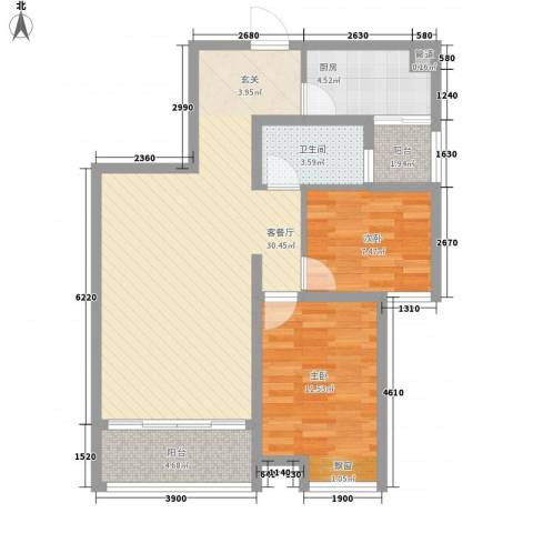 拓基沃野花园2室1厅1卫1厨86.00㎡户型图
