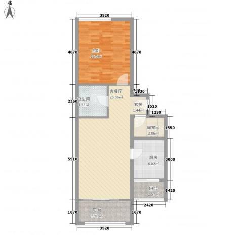 上奥世纪中心1室1厅1卫1厨95.00㎡户型图