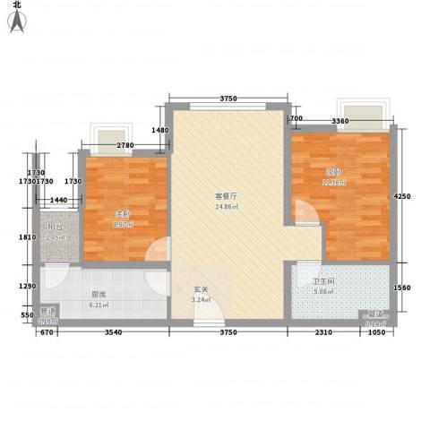 太原富力现代广场2室1厅1卫1厨87.00㎡户型图