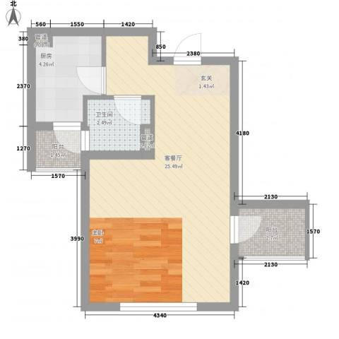 临港海滨国际花园1厅1卫1厨53.00㎡户型图